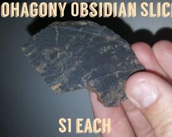 Mahogany Obsidian Sliced