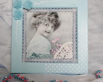 Decorative frame, wooden frame, frame style shabby chic blue dream