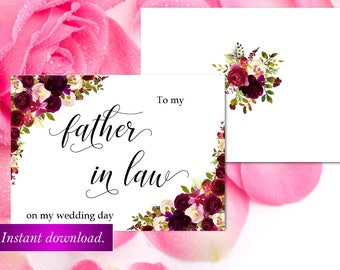 To my Father in law on my wedding card,marsala Wedding day cards,Father of the bride card,Father of the Bride gift card,Wedding card,42