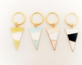 Geometric Stitch Markers// Triangle Progress Keepers// Knitting Markers
