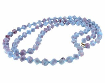 1930s Blue and Purple Marbled Glass Bead Vintage Necklace