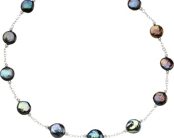 Sterling Silver Jewelry Freshwater Cultured Black Coin Pearl Necklace