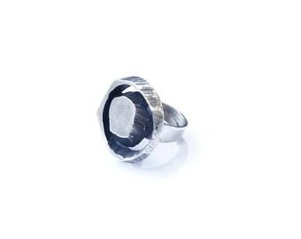 Large modernist Karl Laine silver ring 1972