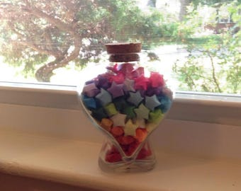 Lucky origami star rainbow color with heart shaped jar over 200+ origami hand folded stars