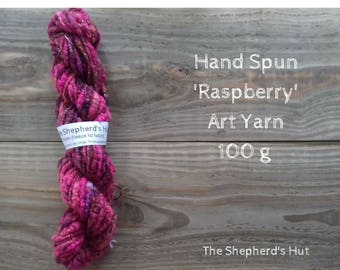 Hand Spun 'Raspberry' Core Spun 2 ply Art Yarn