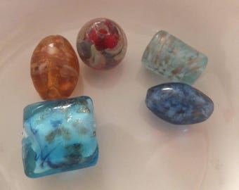 5 pc Lampwork Beads mixed sizes