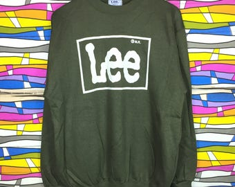 Rare!! Vintage LEE Crewneck Big Logo Sweatshirt Large Size