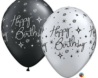 "Happy Birthday Sparkles and Swirls, Elegant Birthday Balloon, Black Birthday Balloon, Silver Birthday Balloon. 11"".  3ft"