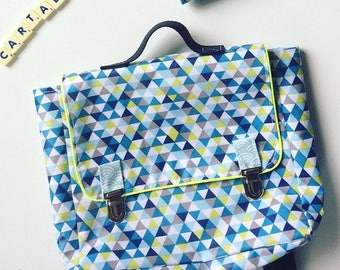 native satchel in laminated cotton waterproof blue triangles