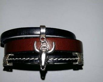 leather bracelet for men Bull