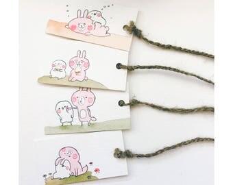 Piske & Usagi - Watercolor bookmark