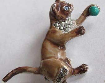 Vintage Rhinestone & Enamel Superb 1950s Kitten Cat Brooch Pin