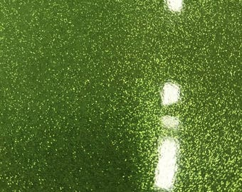 Vinyl Fabric - Green Shiny Sparkle Glitter Leather PVC - Upholstery By The Yard