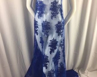 Royal Blue Lace Fabric - Corded Flowers Embroidery With Sequins For Wedding Dress Bridal Veil By The Yard