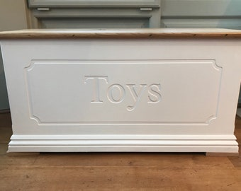 Personalised toy box storage chest oak top