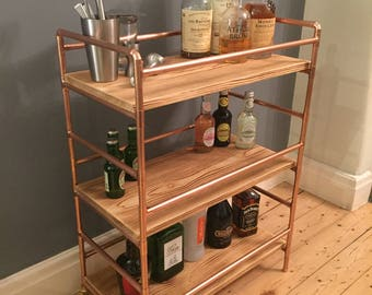 3 tier Drinks trolley in a retro industrial style with a copper pipe frame and reclaimed pine shelves