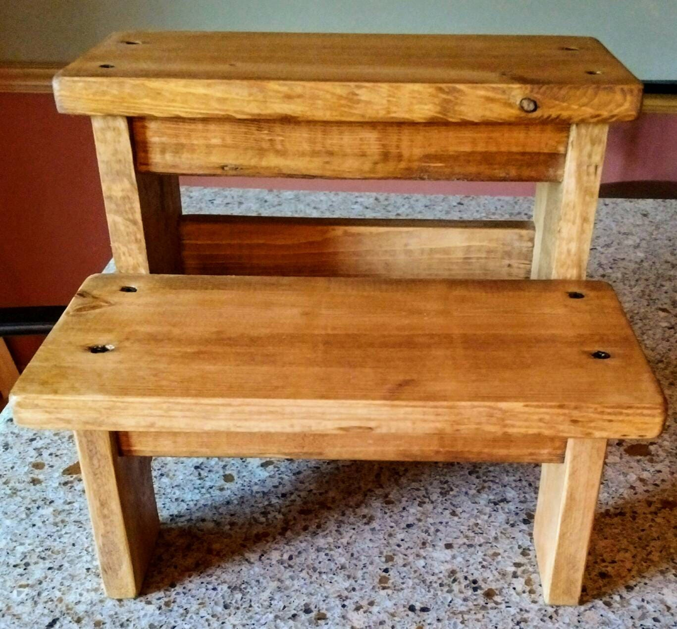 Wooden Step Stool ~ Rustic two step stool wood pet steps