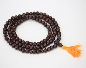 Rosewood mala 108+1 guru beads - hindu japa mala - krishna japa mala - Buddhist meditation japa mala - yoga meditation prayer beads malah