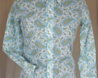 Petite sized original 60's, nearly new, Paisley poly cotton shirt