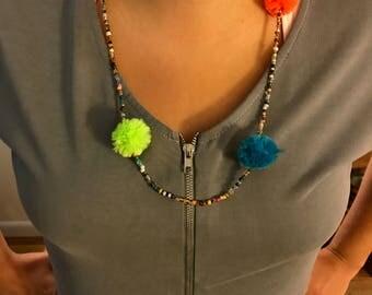 Glass bead pompom necklace