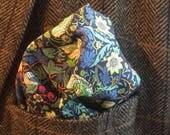 Liberty Pocket Square, William Morris Strawberry Thief  -Green, Cotton Pocket Square, Pocket Squares, Liberty of London fabric