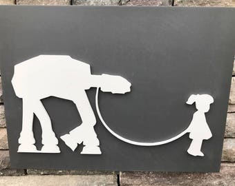 16x12 AT-AT With Girl Wooden Sign - Star Wars Decor - Chalk Paint -3D Sign - Custom Playroom Decor - Wooden Cutout - Nursery Decor