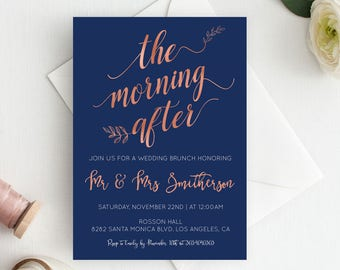 Post Wedding Brunch Invitation  - Morning After - Navy and Rose Gold Wedding - Editable Text - Downloadable wedding #WDHSN8121