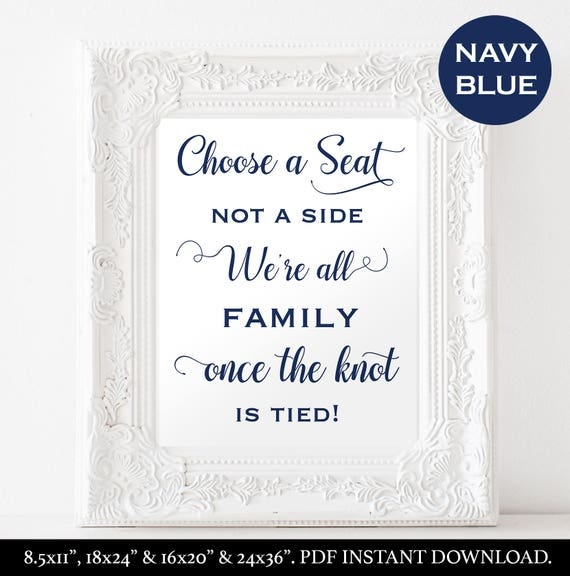 Choose a Seat Not a Side Sign Instant Download