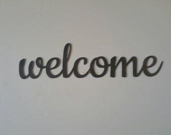 Welcome Metal Sign, Welcome Sign, Welcome Metal Word, Welcome Metal Art