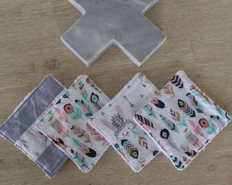 Mini dribble cloth set of four (12cm x 12cm)