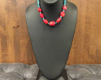 Coral & Turquoise Chip Statement Necklace