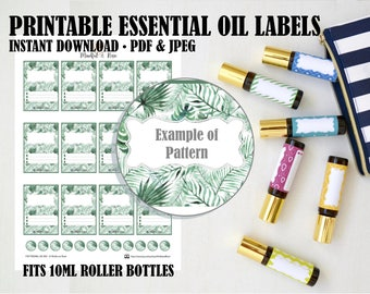 Printable Essential Oil Labels - 10ml Rollerball Tropical Palm Pattern