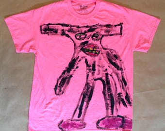 Fluorescent Pink T Shirt with a Handprinted image of Slenderman on the front