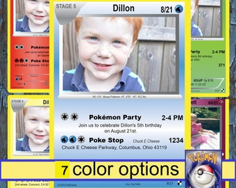 pokemon birthday invitation, pokemon invitation, pokemon birthday, pokemon birthday invitations, pokemon invitations, Pokemon, Pokemon cards