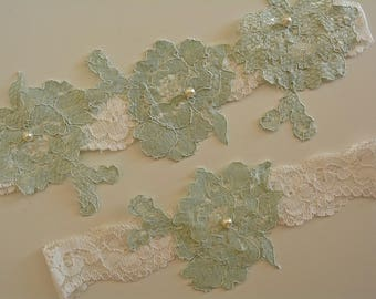 Off White Mint Wedding Garter, Bridal Garter Set, White Garter Belt, Wedding Garter Mint, Lace Garter White, Wedding Gift, Lace Garter Mint