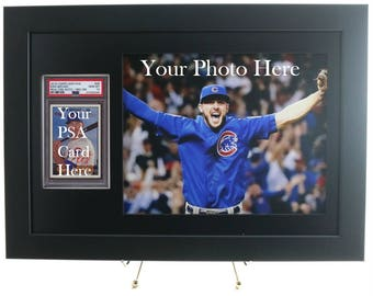 Sports Card Frame for a PSA Graded Vertical Card with an 8x10 Horizontal Photo Opening (New All-Black)