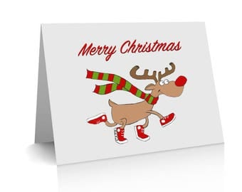 Rudolph Red Nosed Reindeer A6 Christmas Card, sneakers, Christmas scarf, inside card, Christmas Greetings & Happy New Year