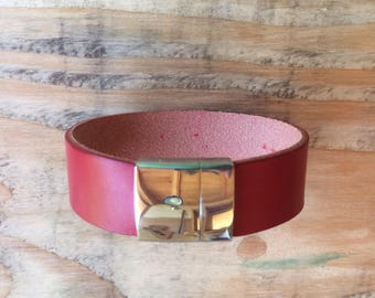 Handmade veg tanned leather cuff bracelet