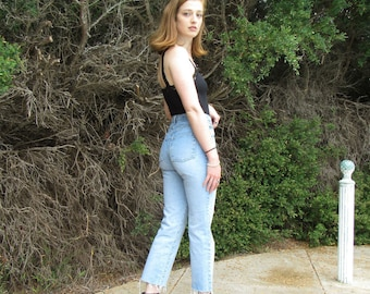 80s Faded Glory 27 / 4 / Raw Cropped /Light Fade High Waist / 1980s Hipster  Mom Jeans 27 x 27
