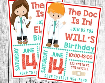 Doctor Party Invitation, Doctor Birthday Invitation, Customized Doctor Invitation, Customized Invitation, Doctor Birthday Party Invitation