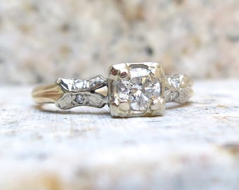 Art Deco Diamond Ring, Diamond Engagement Ring, Vintage Engagement Ring, 0.30 Carats