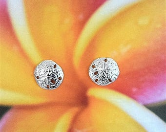 Summer Sale Sterling Silver Sand Dollar Stud Earring, Hawaiian Jewelry, Gifts for Her