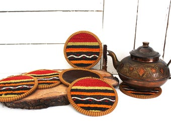 kilim coasters cup coaster coffee coasters beer coasters drink coaster bohemian rustic home decor coffee break handmade gift Set (6 pcs)