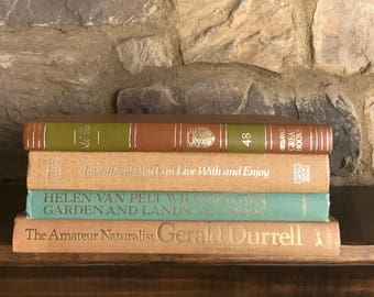 Vintage Book Stack, Spring Colors Book Decor, Vintage Books, Aqua Blue Peachy Tan Gold Book Collection, Bookshelf Decor