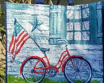 American Flag on bike tote/ market bag