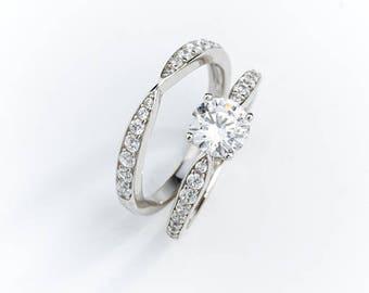 0.8 carat Forever Brilliant Moissanite Engagement ring set with natural diamonds in 18k white gold, Bridal Ring Set
