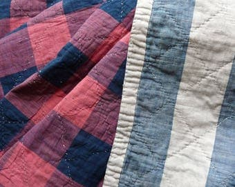 RESERVED SOLD RESERVED   2nd instalment of 2    hand quilted French textile  18thc Antique French fabric/French Vichy fabric /