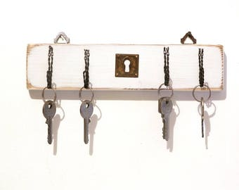 Key hanger, wall key holder, with wrought iron kitchen hanger hooks, jewelry boxes, Shabby Chic, MADE in ITALY
