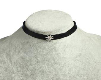 Black leather choker necklace, crystal star charms necklace choker, 925 silver necklace chain
