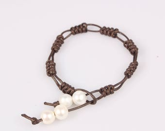 leather pearl bracelet pearl leather bracelet real freshwater pearl jewelry white pearl leather bracelet bridesmaid bracelet wedding jewelry
